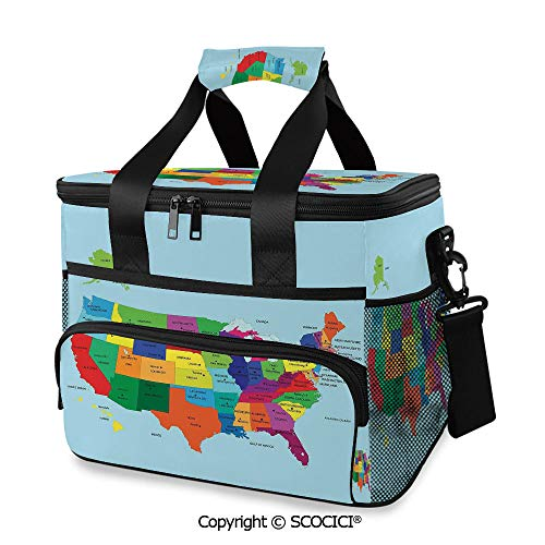 SCOCICI Cooler Cooling Tote Bag Educational Map of America USA with States and Capitals City Texas New York Printed Art Decorative for Camping, Picnic, BBQ, Family Outdoor Activi