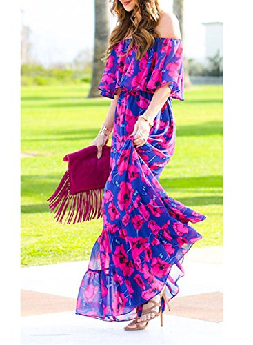 Print Off Evening Maxi Young17 Floral Sexy A Slash Elastic Summer Length Shoulder Purple Purple Falbala Waist Neck Line Party Beach Floor Sleeve Dress Short Women Dress Casual Ruffle Hqw0xHgB