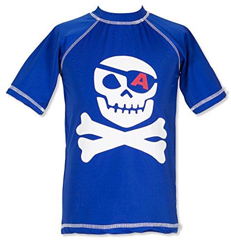 Little Boys' Surf American Skull Pirate Short-Sleeve Rash Guard Swim Shirt UPF 50+ Sun Protective Blue 6