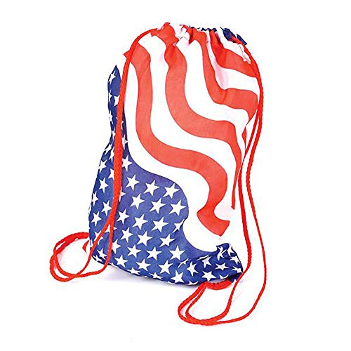 Drawstring Star All Backpack - Kicko 15 Inch USA Flag Drawstring Bag 12 pc Stars and Stripes Backpack Perfect for the 4th of July