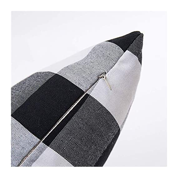 HOPLEE Outdoor Pillow Covers 20x20 Black and White Pillow Covers Buffalo Plaid Stripe and Gingham Design Set of 4 - 1.Black Throw Pillow Covers Size: 20x20 inch / 50x50cm(1-2cm deviation).This set comes with 4 pieces pillow covers,NO PILLOW INSERTS INCLUDED. 2.This set decorative pillow covers with 4 pieces black and white geometric pillow covers, the same on two sides. 3.20 x 20 pillow covers are matched with the invisible zipper. Disassemble freely, convenient to change. Help you decor your home more gorgeous with these farmhouse pillow covers. - patio, outdoor-throw-pillows, outdoor-decor - 519IvHXoRoL. SS570  -