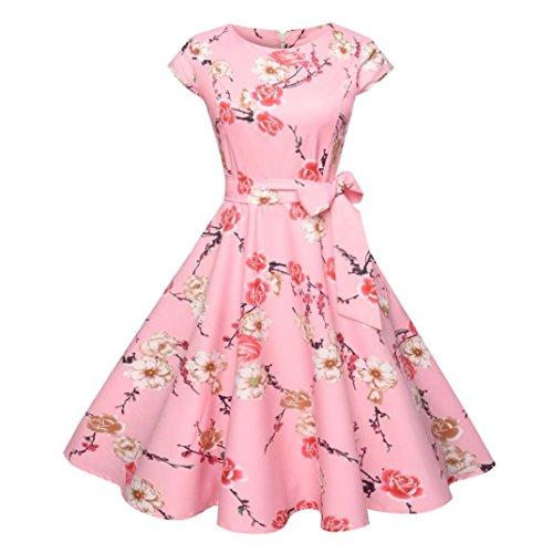 Kimloog Swing Dress, Women Floral Printed Short Sleeve Bowknot Casual Hem Party Sundress (M, Pink) by Kimloog