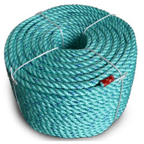 CWC BLUE STEEL Floating Co-Polymer Utility Rope, Teal W/Dk Blue Tracer (5/8'' x 600' - 11000 lbs Tensile)