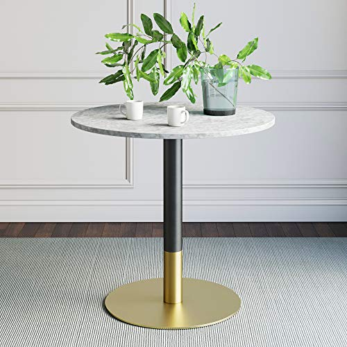 Nathan James 42002 Lucy Small Mid-Century Modern Kitchen or Dining Table with Faux Carrara Marble Top and Brushed Metal Pedestal Base, White/Gold (Base Table Round)