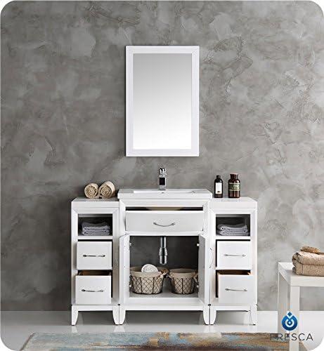 Fresca Cambridge 48″ White Traditional Bathroom Vanity w/Mirror