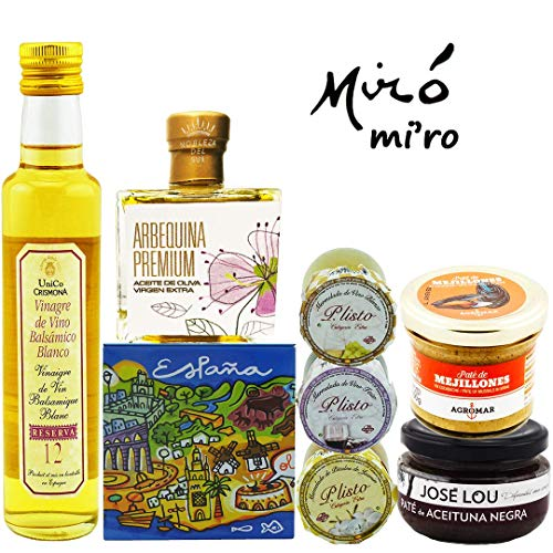 GIFT BASKET-IMPORTED FROM SPAIN-GOURMET FOOD-7 PREMIUM ARTISAN PRODUCTS - XTRA VIRGIN OLIVE OIL- BLACK OLIVE Pâté - 3 HOMEMADE JAMS-MUSSEL Pâté - WHITE BALSAMIC VINEGAR-SURPRISE GIFT. CHEF OLE MIRO (Chefs Best Gourmet Foods)
