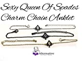 """Q"" Spade (Queen of Spades) Charm Anklets in Black Silver and Gold - Hotwife - Cuckoldress"