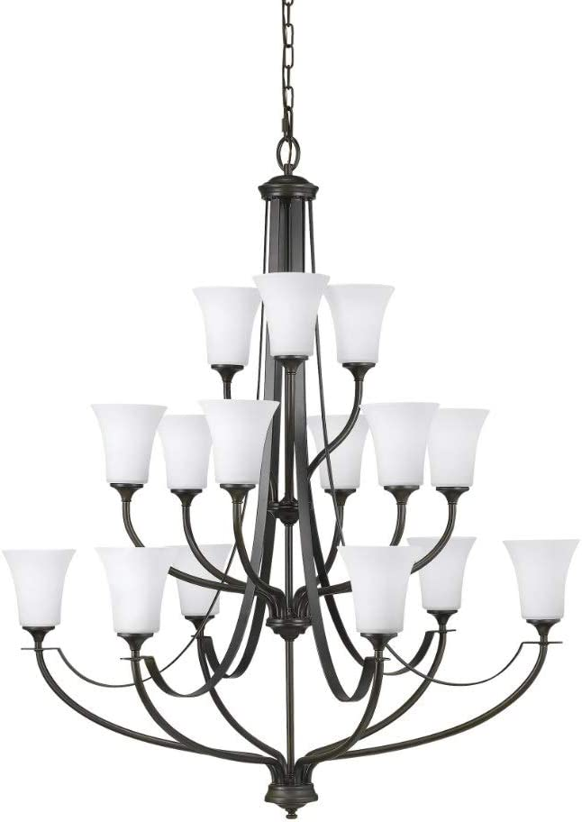 "Sea Gull Lighting F2254EN3/15ORB Barrington - 44.5"" 139.5W 15 LED 3-Tier Chandelier, Oil Rubbed Bronze Finish with White Opal Etched Glass"