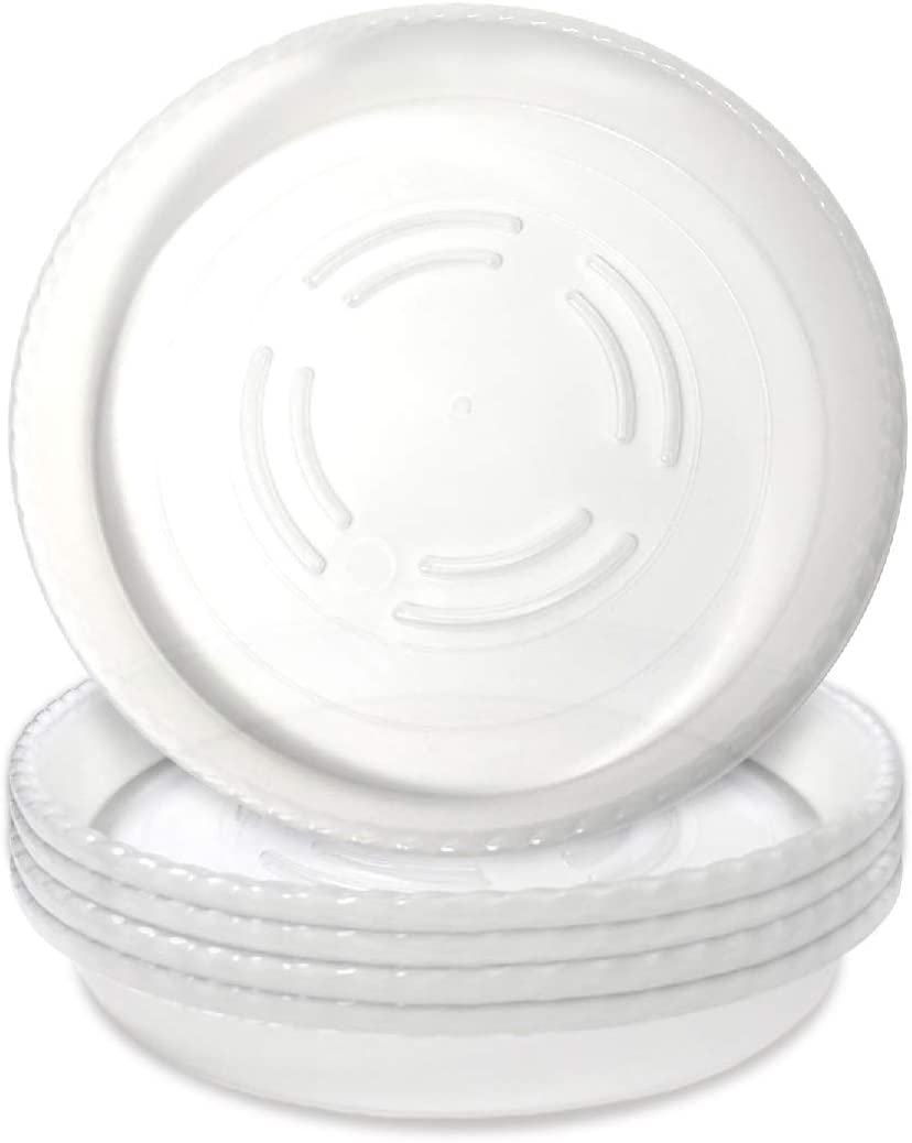 8-inch Clear Plastic Heavy Duty Plant Saucer Drip Trays - 5 Pack