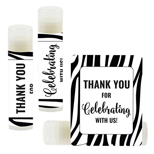 Andaz Press Lip Balm Birthday Party Favors, Thank You for Celebrating with Us, Zebra Print, -
