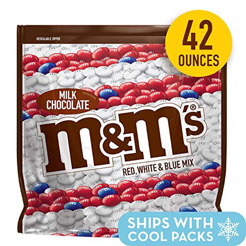 M&M'S Red, White & Blue Patriotic Milk Chocolate Candy, 42-Ounce Party Size Bag]()