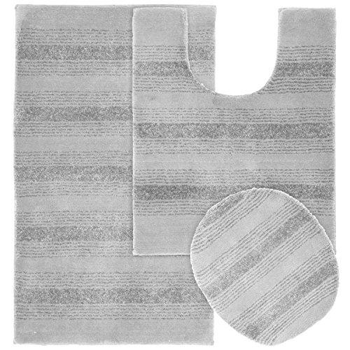 Garland Rug 3-Piece Essence Nylon Washable Bathroom Rug Set, Platinum Gray (Grey 3 Piece Bathroom Rug Set)