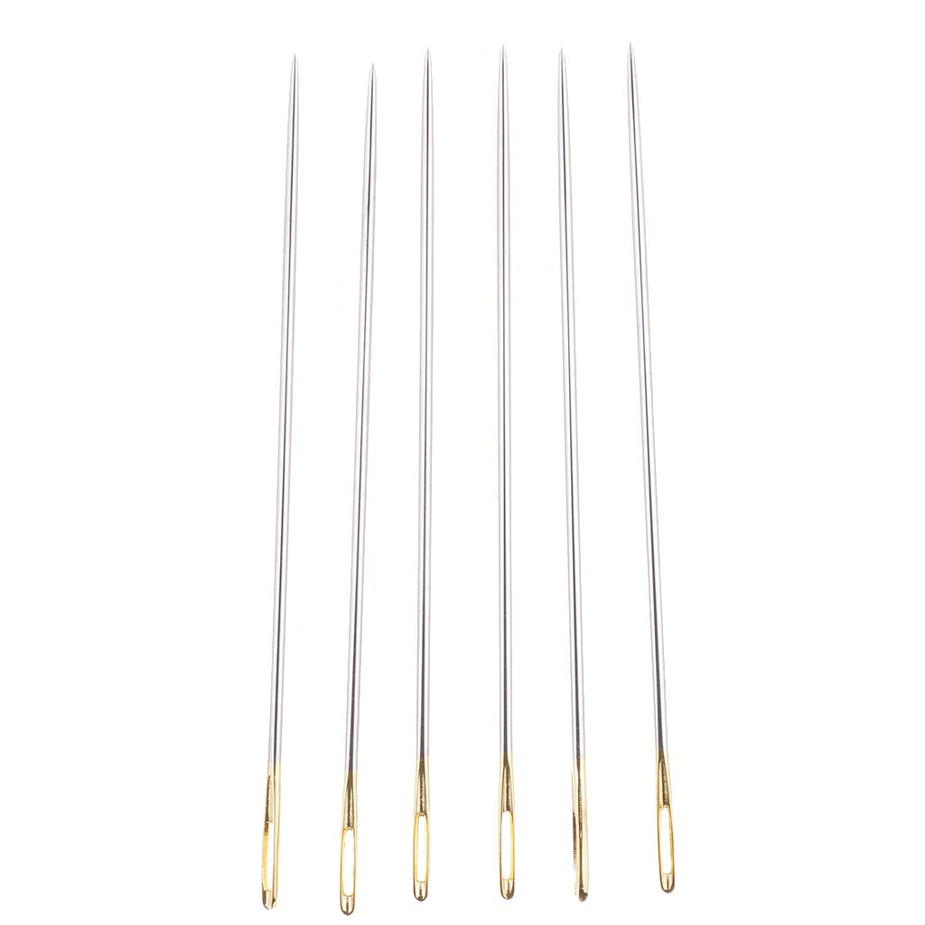 Flameer 6Pcs//set Thick Big Eye Sewing Threading Embroidery Hand Needles 69mm