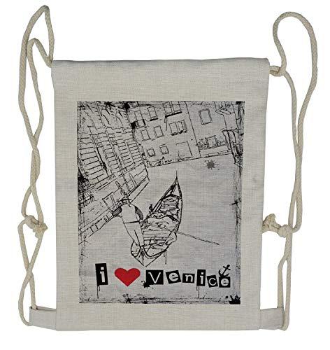 Ambesonne Grunge Drawstring Backpack, Venetian Canal Art Love, Sackpack Bag