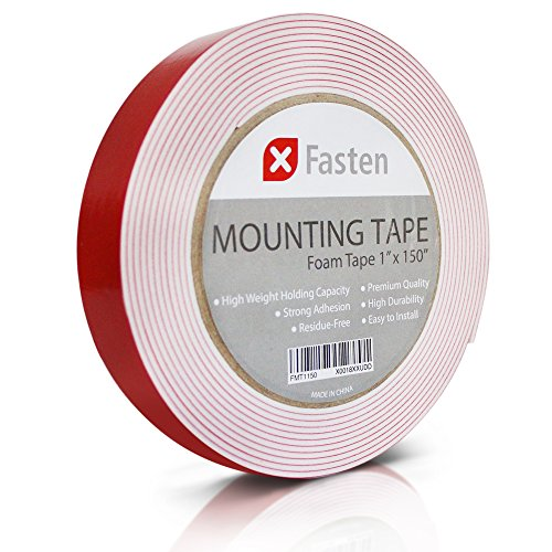 XFasten Double Sided Tape Foam Mounting Tape, 1-Inch x 150-Inch