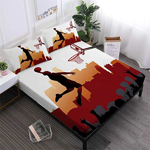 Oliven Sheets Full Size,3D Bedding Cool Basketball Bedding Set 4 Pcs,NBA Basketball Bed Sheets Set