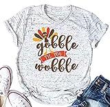 Thanksgiving Shirt Women Gobble Til You Wobble Letters Turkey Print Short Sleeve T-Shirt Top