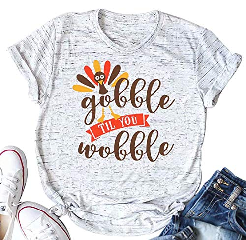 (Womens Gobble Til You Wobble Letters Turkey Print Thanksgiving T-Shirt Top Size S (White))