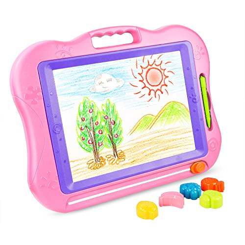 BATTOP Big Size Kids Drawing Board, Magnetic Colorful Erasable Skill Development Drawing Board Blackboard for Baby/Kids/Children (Blue) (Pink) (Pink)