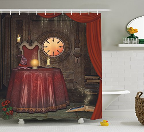 Gothic Decor Shower Curtain by Ambesonne, Fortuneteller Room with Mystic Crystal Ball Magician in Fairy Tale Image , Fabric Bathroom Decor Set with Hooks, 84 Inches Extra Long, Maroon (Fairy Tale Ball Ideas)