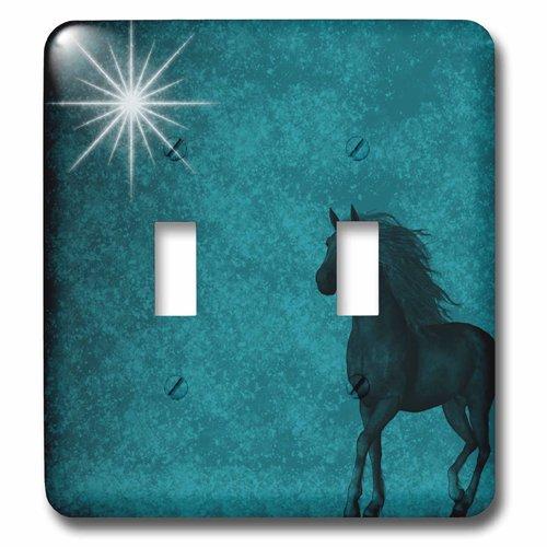 3dRose lsp/_164692/_2 Beautiful Horse Aqua Grunge Sky Double Toggle Switch