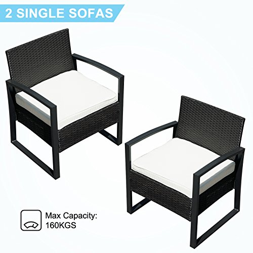 ORKAN 4PC Rattan Wicker Patio Furniture Set Sofa & Table Cushioned Lawn Garden Outdoor BLACK by ORKAN (Image #8)