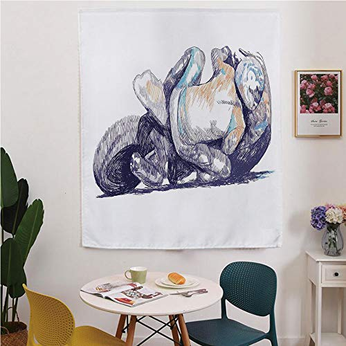 (Motorcycle Blackout Window curtain,Free Punching Magic Stickers Curtain,Sketchy Image of A Motorbike Racer Bending Down to the Route Performer Winner,for Living Room,study, kitchen, dormitory, Hotel,P)