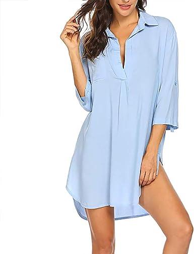 Vestido de verano para mujer de D.Style, cuello en V, informal, elegante, con mangas cortas y medias azul claro XXL: Amazon.es: Ropa y accesorios