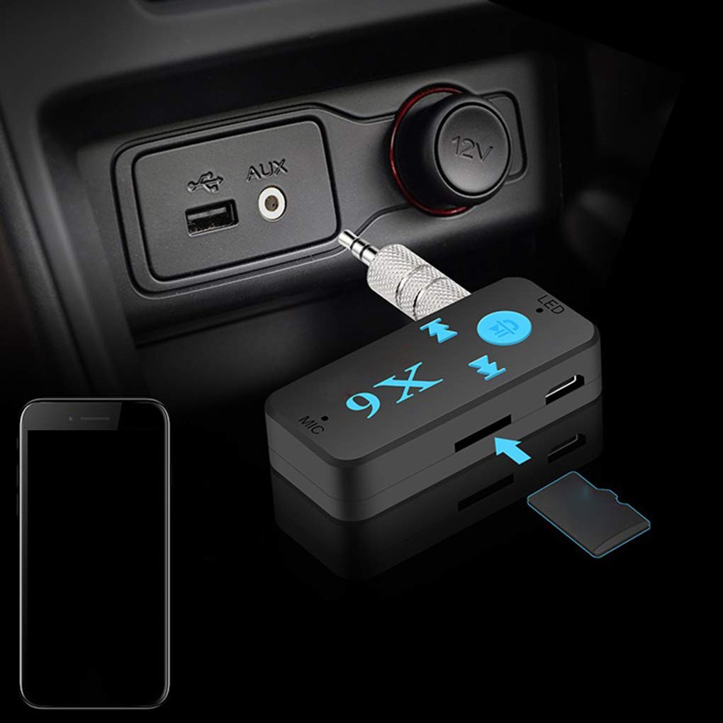 Morelyfish Est/éreo Bluetooth Manos Receptor de m/úsica Libre X6 Auto del Coche de Bluetooth Aux Soporte Adaptador de la Tarjeta del TF de Audio A2DP