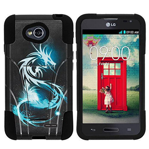 (LG Optimus Exceed 2 Phone Case, Armor Cover STRIKE Impact Built In Kickstand Case with Customized Designs for LG Optimus L70 MS323, LG Optimus Exceed 2 VS450PP, LG Realm LS620, LG Ultimate 2 L41C (Metro PCS, Verizon, Boost Mobile) from MINITURTLE | Includes Clear Screen Protector and Stylus Pen - White Dragon)