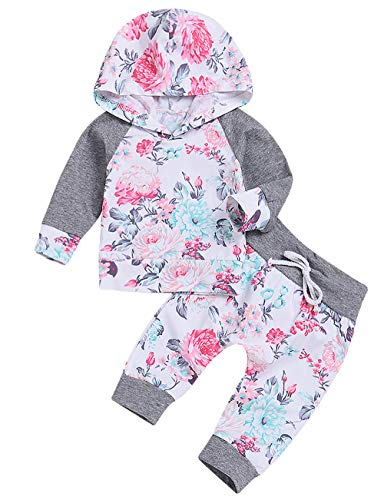 C&M Wodro Baby Girls Long Sleeve Flowers Hoodie Tops and Pants Outfit with Kangaroo Pocket Headband (Gray, 12-18 Months) -