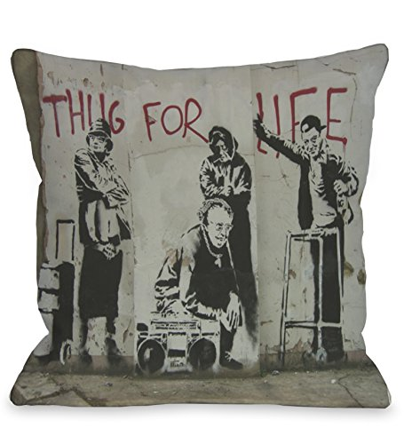 One Bella Casa Thug for Life Throw Pillow by Banksy, 16