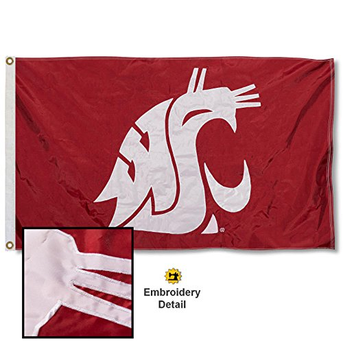 (Washington State Cougars Embroidered and Stitched Nylon Flag)