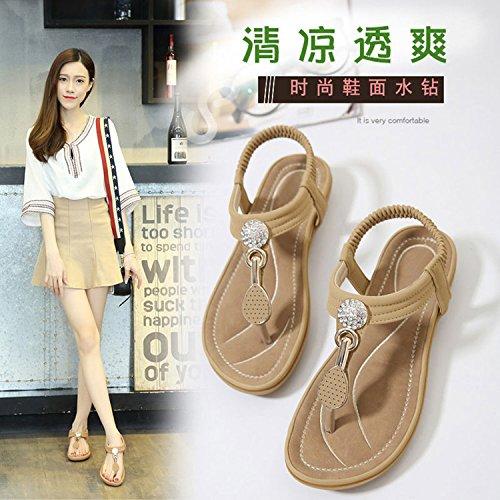 yalanshop Été nouvelle plage chaussures femme été toe strass sandales bande élastique 36 NYa95W
