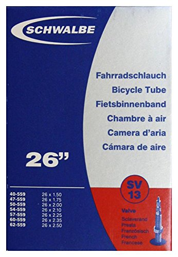 Schwalbe Fahrradschlauch SV13 mit Sclaverantventil, 40/62-559 mm, 26 x 1,50 - 2,50 Zoll