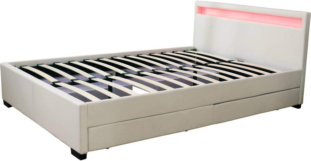 habitatetjardin Cama Doble LED Nico - 160 x 200 cm - Blanco ...