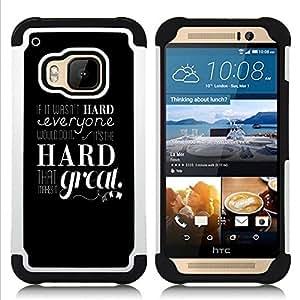 GIFT CHOICE / Defensor Cubierta de protección completa Flexible TPU Silicona + Duro PC Estuche protector Cáscara Funda Caso / Combo Case for HTC ONE M9 // IF IT WASN'T HARD //