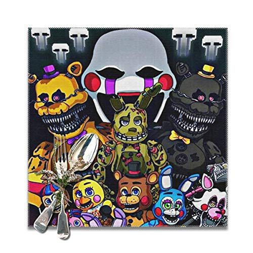Rmoye Five Nights At Freddy's Heat Resistant Placemats Set Of 6 For Dining Table Washable Kitchen Table Mats 12x12 Inches