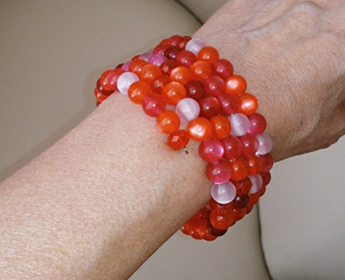 Naturel Design Bohemian Jewelry Collection: Five-layer Red, Pink and White Stretch Boho Bracelet