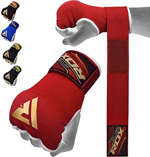 RDX Training Boxing Inner Gloves Hand Wraps MMA Fist Protector Bandages Mitts,Red,Small