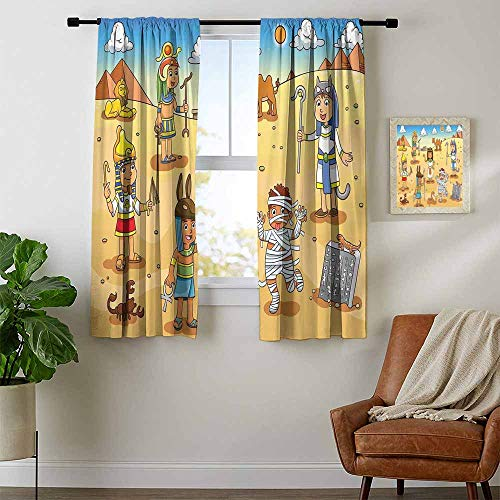 Mozenou Cartoon, Party Curtains Decorations, Historical Egypt Characters with Pyramids Cleopatra King Mummy Child Design Image, Art Prints Window Treatment, W72 x L72 Inch Multicolor -
