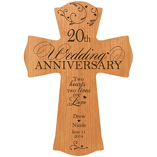 Personalized 20th Wedding Anniversary Wood Wall Cross Gift for ...