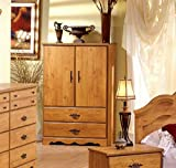 South Shore Wardrobe Closet Armoire - Perfect Bedroom Storage Furniture - The Dresser Has 2 Drawers and 3 Shelves -This Cabinet Is Made of Aluminum and Manufactured Wood -Decor- 5 Years Warranty!