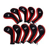 Generic 10 Golf Clubs Iron Set Headcovers Head Cover Red/Black
