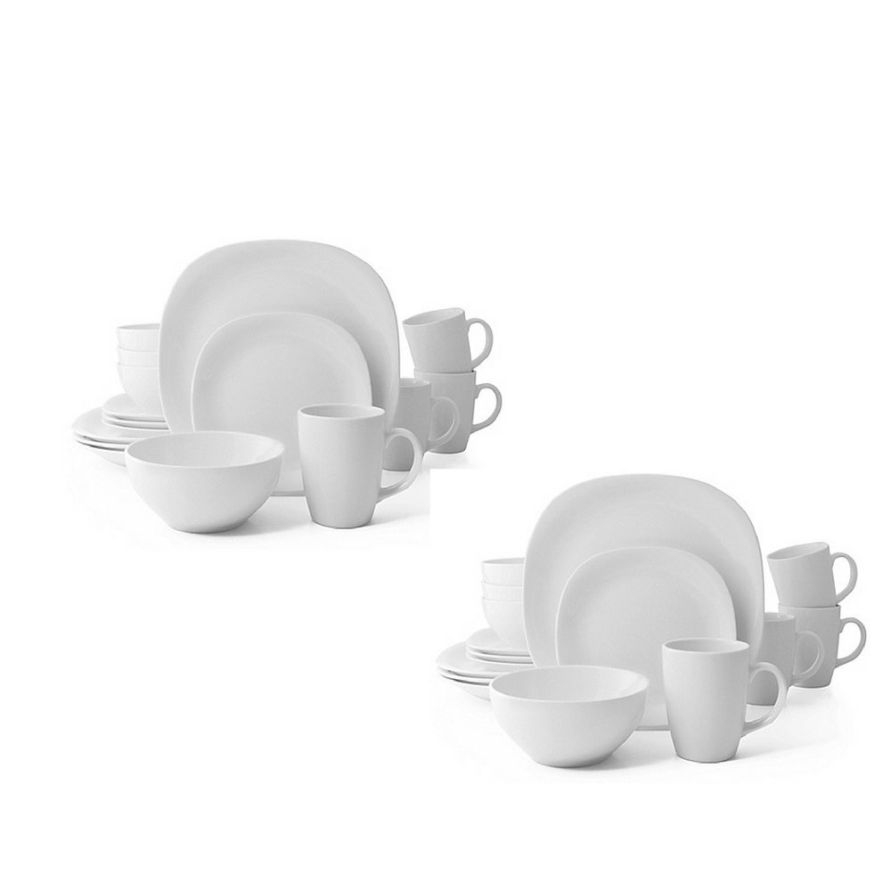 Thomson Pottery Quadro 32-Piece Dinnerware Set in White Service for 8