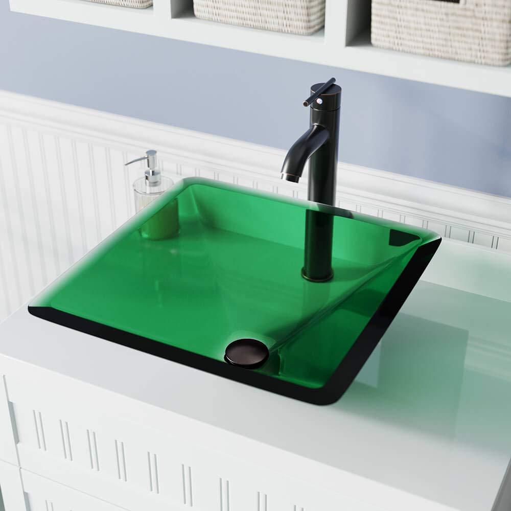 Bundle - 4 Items: Vessel Sink, Vessel Faucet, Pop-Up Drain, and Sink Ring 603 Emerald Brushed Nickel Bathroom 721 Vessel Faucet Ensemble
