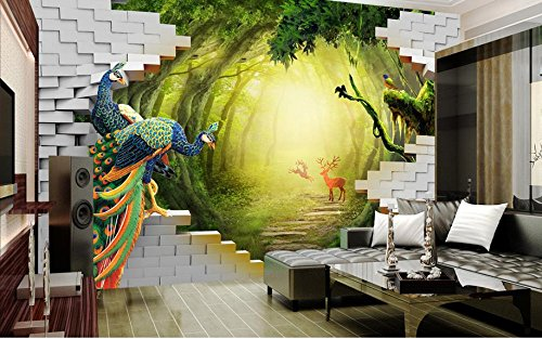 LWCX Luxury Wallpaper Custom 3D Mural Wallpaper Secret Garden Peacock Deer Tv Backdrop Wall Murals For Living Room 250X175CM by LWCX (Image #2)