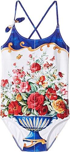 Dolce & Gabbana Kids Girl's Caltagirone Printed Swimsuit (Big Kids) Floral Vase Print Youth 8 Big by Dolce & Gabbana