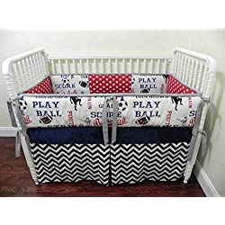 Nursery Bedding, Baby Crib Bedding Set Lucas, Boy Baby Bedding, Sports Crib Bedding - Choose Your Pieces