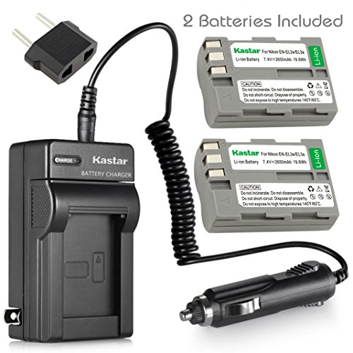 D80 En El3e Battery Charger - Kastar Battery (2-Pack) and Charger Kit for Nikon EN-EL3e, EN-EL3a, EN-EL3, MH-18, MH-18a work with Nikon D50, D70, D70s, D80, D90, D100, D200, D300, D300S, D700 Cameras and MB-D10, MB-D80 Grips